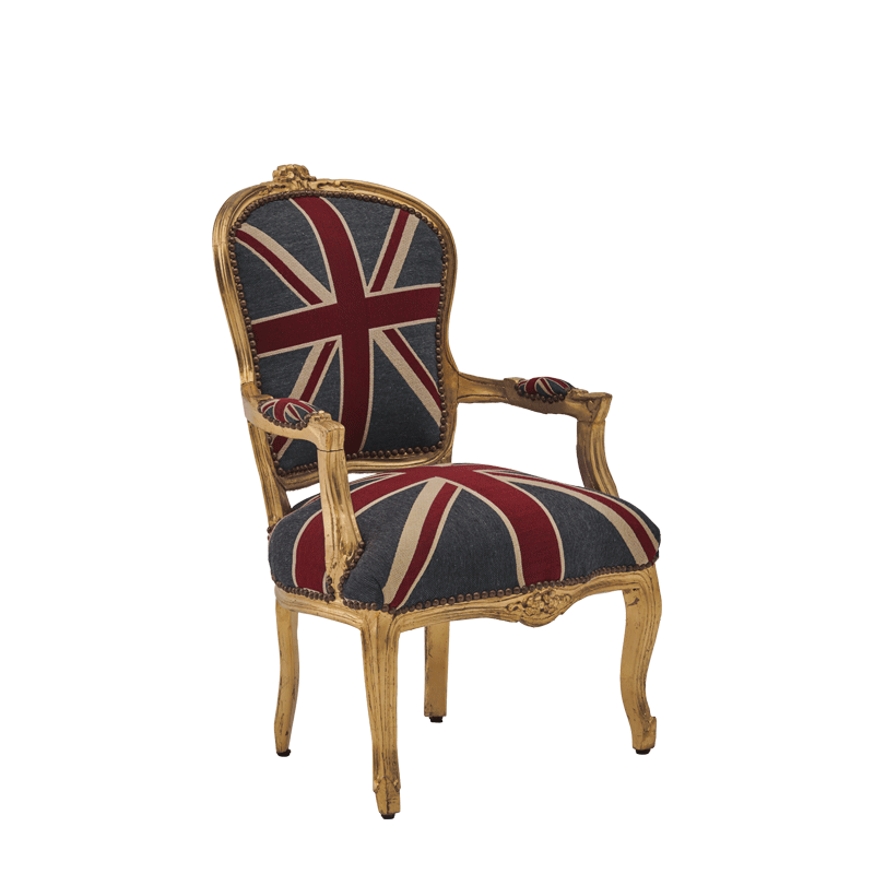 Louis Armchair In Gold With Union Jack, Union Jack Furniture