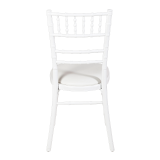Bamboo Chair in White with White Vinyl Seat Pad