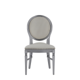 Chandelle Chair in Silver with Anastasia Collect. Silver Seat Pad