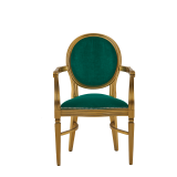 Chandelle Armchair in Gold with Jade Velvet Seat Pad