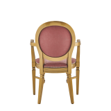 Chandelle Armchair in Gold with Rose Pink Velvet Seat Pad