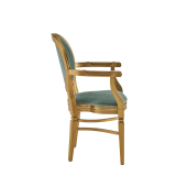 Chandelle Armchair in Gold with Seagreen Velvet Seat Pad