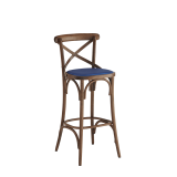 Coco Bar Stool in Natural with Sapphire Seat Pad