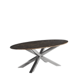 Cognac Coffee Table in Chrome with Oval Marble Top