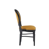 Chandelle Chair in Black with Amber Velvet Seat Pad