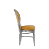 Chandelle Chair in Silver with Amber Velvet Seat Pad