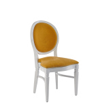 Chandelle Chair in White with Amber Velvet Seat Pad
