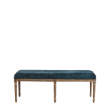Paris Bench with Oak Frame Azzuro Blue Velvet