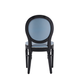 Chandelle Chair in Black with Baby Blue Seat Pad