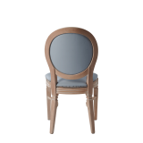 Chandelle Chair in Ivory with Baby Blue Seat Pad