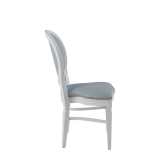 Chandelle Chair in White with Baby Blue Seat Pad