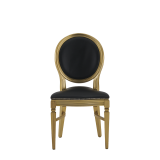 Chandelle Chair in Gold with Black Seat Pad