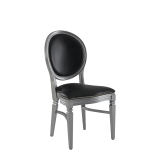 Chandelle Chair in Silver with Black Seat Pad
