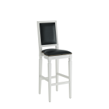 CKC Bar Stool in White with Black Seat Pad