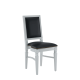 CKC Chair in White with Black Seat Pad