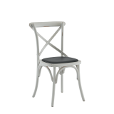 Coco Chair in White with Black Seat Pad