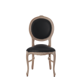 Louise Chair in Ivory with Black Seat Pad