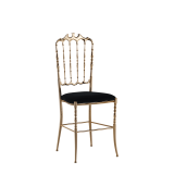 Napoleon Chair in Gold with Black Seat Pad
