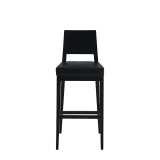 Porcino Bar Stool in Black with Black Seat Pad