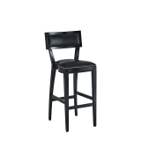 The Bogart Bar Stool in Black with Black Seat Pad