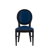 Chandelle Chair in Black with Blue Seat Pad