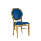Chandelle Chair in Gold with Blue Seat Pad