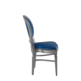 Chandelle Chair in Silver with Blue Seat Pad