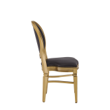 Chandelle Chair in Gold with Brown Seat Pad