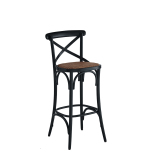 Coco Bar Stool in Black with Cane Work Seat Pad