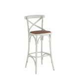Coco Bar Stool in White with Cane Work Seat Pad