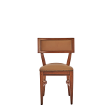 The Bogart Chair in Antique Wood with Caramel Seat Pad
