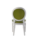 Chandelle Chair in White with Chartreuse Green Seat Pad