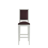 CKC Bar Stool in White with Claret Wine Seat Pad