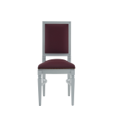 CKC Chair in White with Claret Wine Seat Pad
