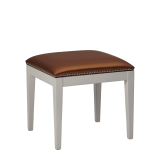 Divano Ottoman in White with Copper Seat Pad