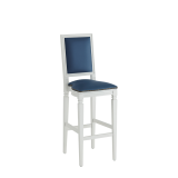 CKC Bar Stool in White with Cornflower Blue Seat Pad