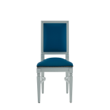 CKC Chair in White with Cornflower Blue Seat Pad