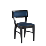 The Bogart Chair in Black with Cornflower Seat Pad