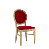 Chandelle Chair in Gold with Crimson Red Velvet Seat Pad