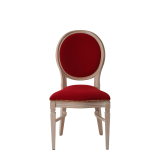 Chandelle Chair in Ivory with Crimson Red Velvet Seat Pad