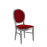 Chandelle Chair in Silver with Crimson Red Velvet Seat Pad