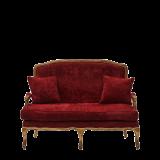 Paris Settee Sofa in Gold upholstered in Crimson Red Velvet