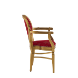 Chandelle Armchair in Gold with Damask Bordeaux Seat Pad