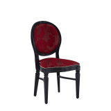 Chandelle Chair in Black with Damask Bordeaux Seat Pad