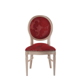Chandelle Chair in Ivory with Damask Bordeaux Seat Pad