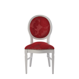 Chandelle Chair in White with Damask Bordeaux Seat Pad