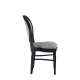 Chandelle Chair in Black with Damask Moonshine Seat Pad