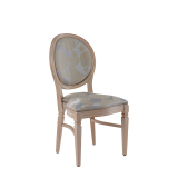 Chandelle Chair in Ivory with Damask Moonshine Seat Pad