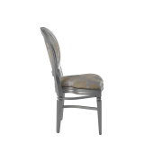 Chandelle Chair in Silver with Damask Moonshine Seat Pad