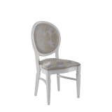 Chandelle Chair in White with Damask Moonshine Seat Pad